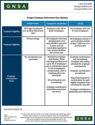Oregon-Employers-Retirement-Plan-Options